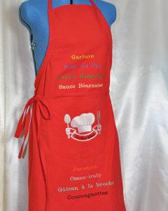 tablier rouge menu