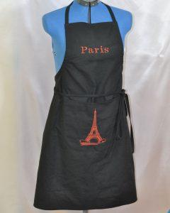 """tablier noir """"Paris"""""""
