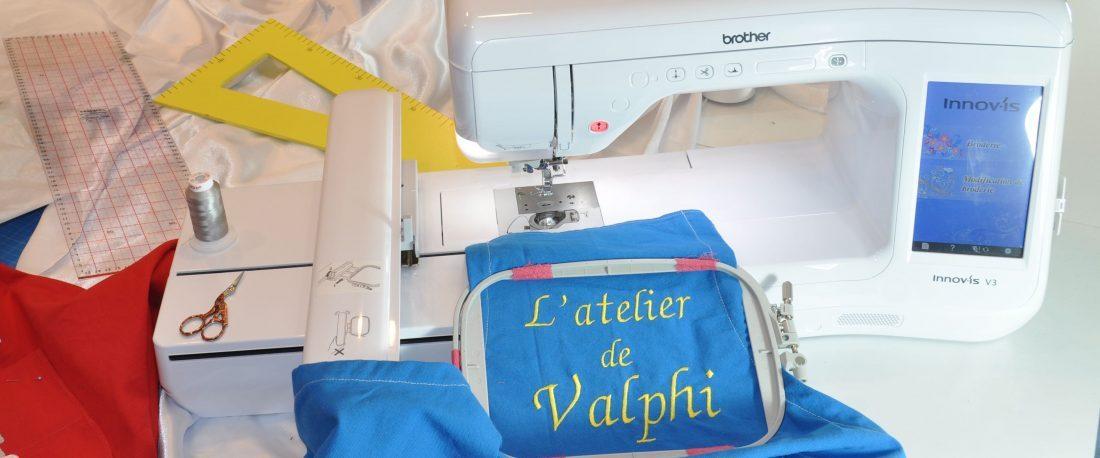 l'histoire de L'atelier de Valphi broderie créations petite machine
