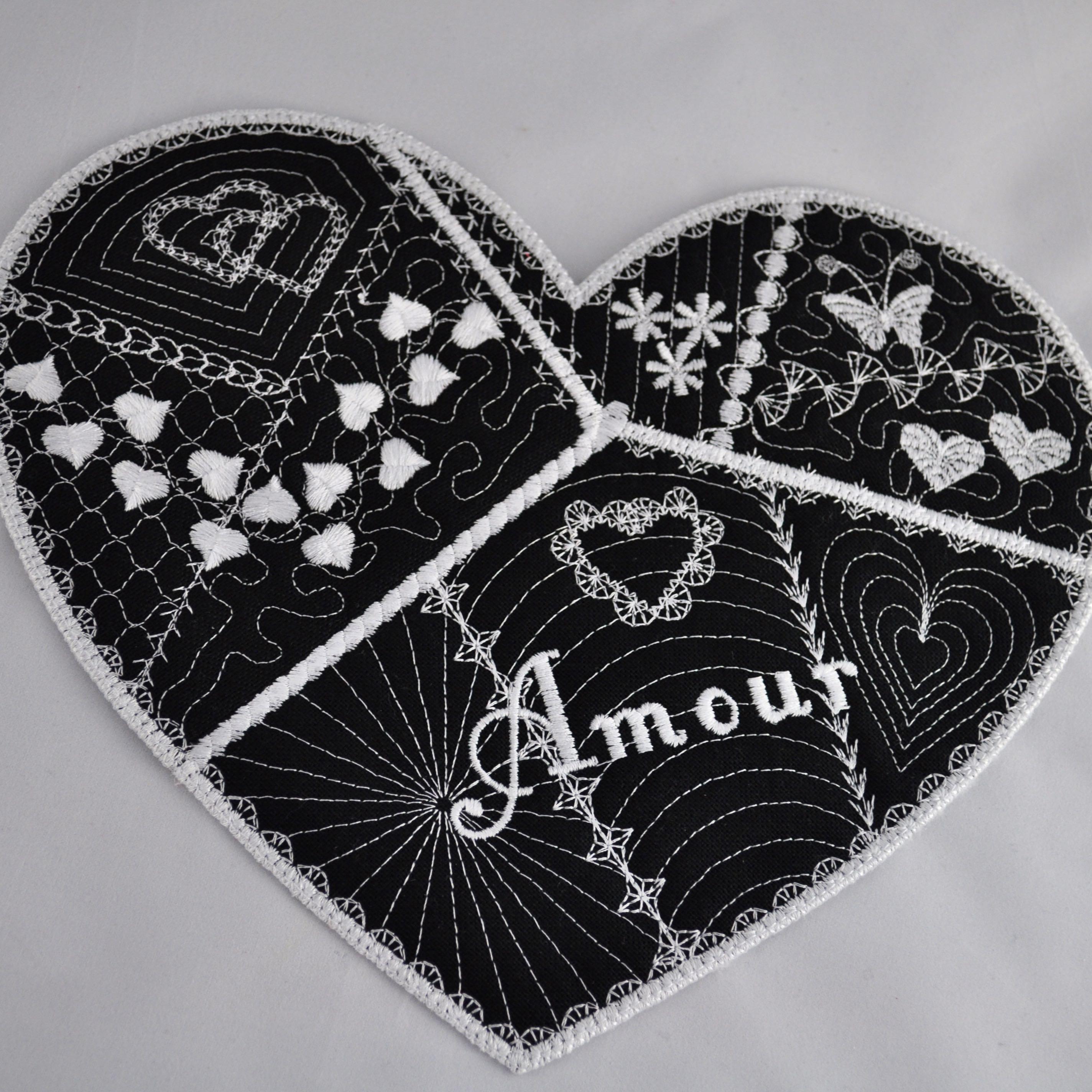 Image Coeur Noir Et Blanc napperon coeur noir et blanc - l'atelier de valphi