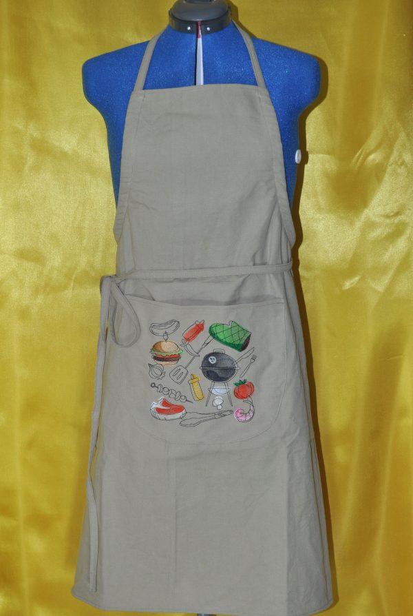 tablier brodé couleur jute barbecue