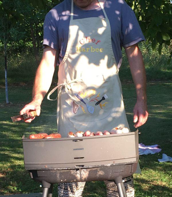 toblier brodé couleur jute chef barbec