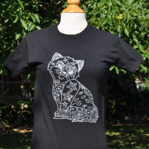 tee shirt enfant noir chat scintillant